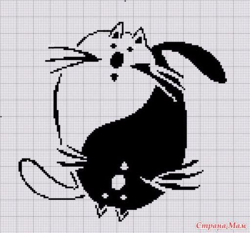 Вышивка крестом коты монохром схема вышивки