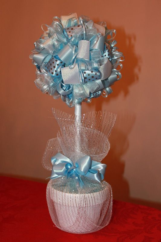 blue and white ribbon topiary centerpieces more than favors rh pinterest com
