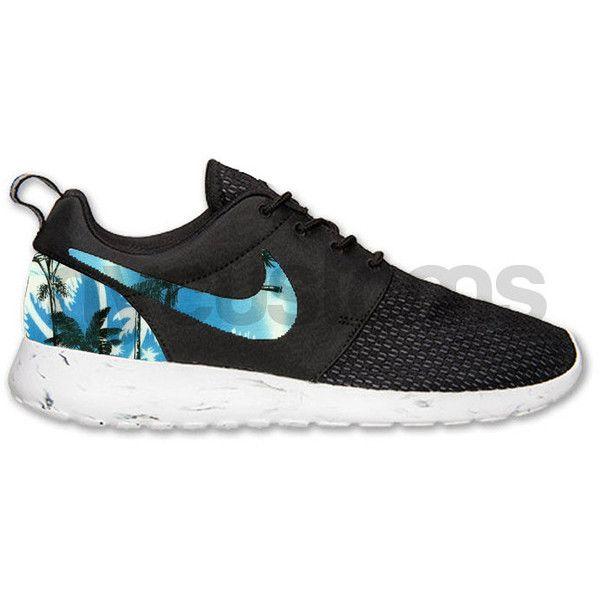 sports shoes e4d1d 16120 Nike Roshe Run Black White Marble Blue Palm Tree Print Custom ( 160) ❤ liked  on Polyvore