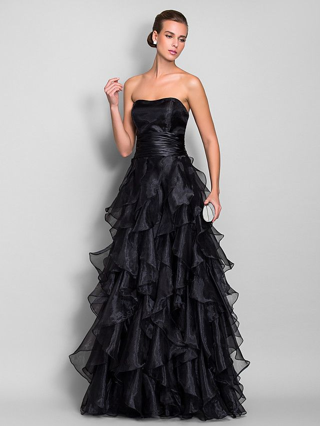 A Line Sweetheart Floor Length Organza Prom Formal Evening Military
