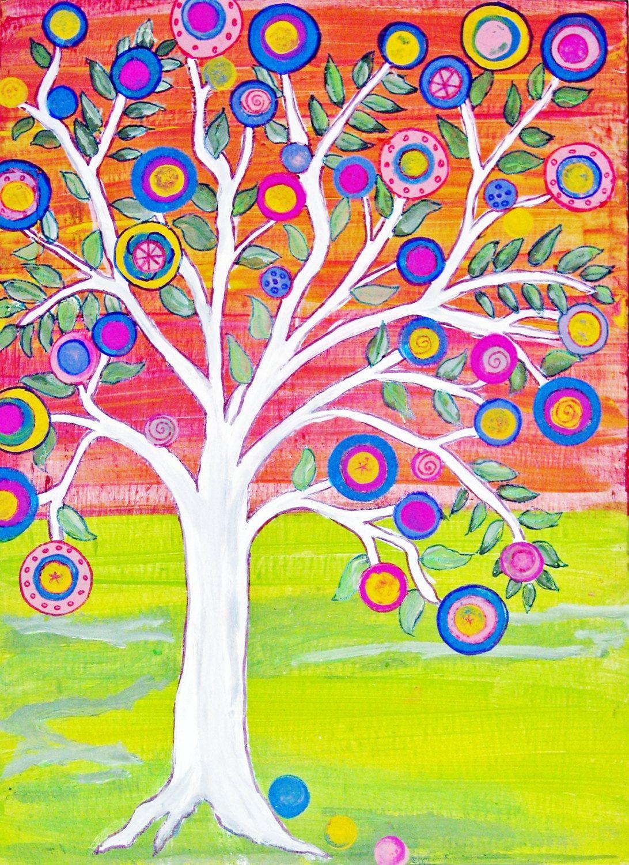 Etsy Art Print Of Tree Of Life 2 Original Mexican Folk Art Happy Tree