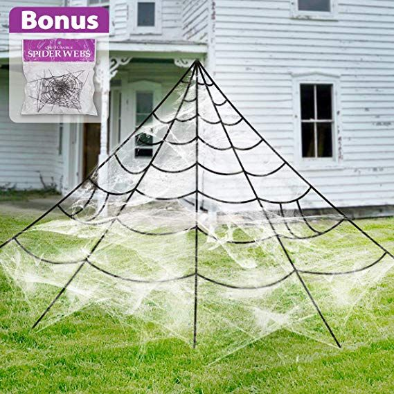 Pawliss Giant Spider Web with Super Stretch Cobweb Set, Halloween - giant spider halloween decoration
