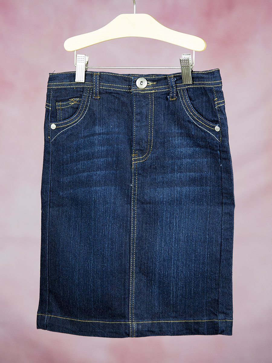 1bd1733b3bcd Girls 4-6X Super Cute Below Knee Straight Denim Skirt - Love My Jean Skirt
