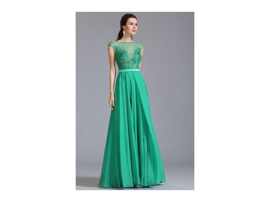 Zelené plesové šaty zdobené kamínky Velmi elegantní plesové šaty mají  bohatě krajkou a kamínky zdobený živůtek e2ab25f017