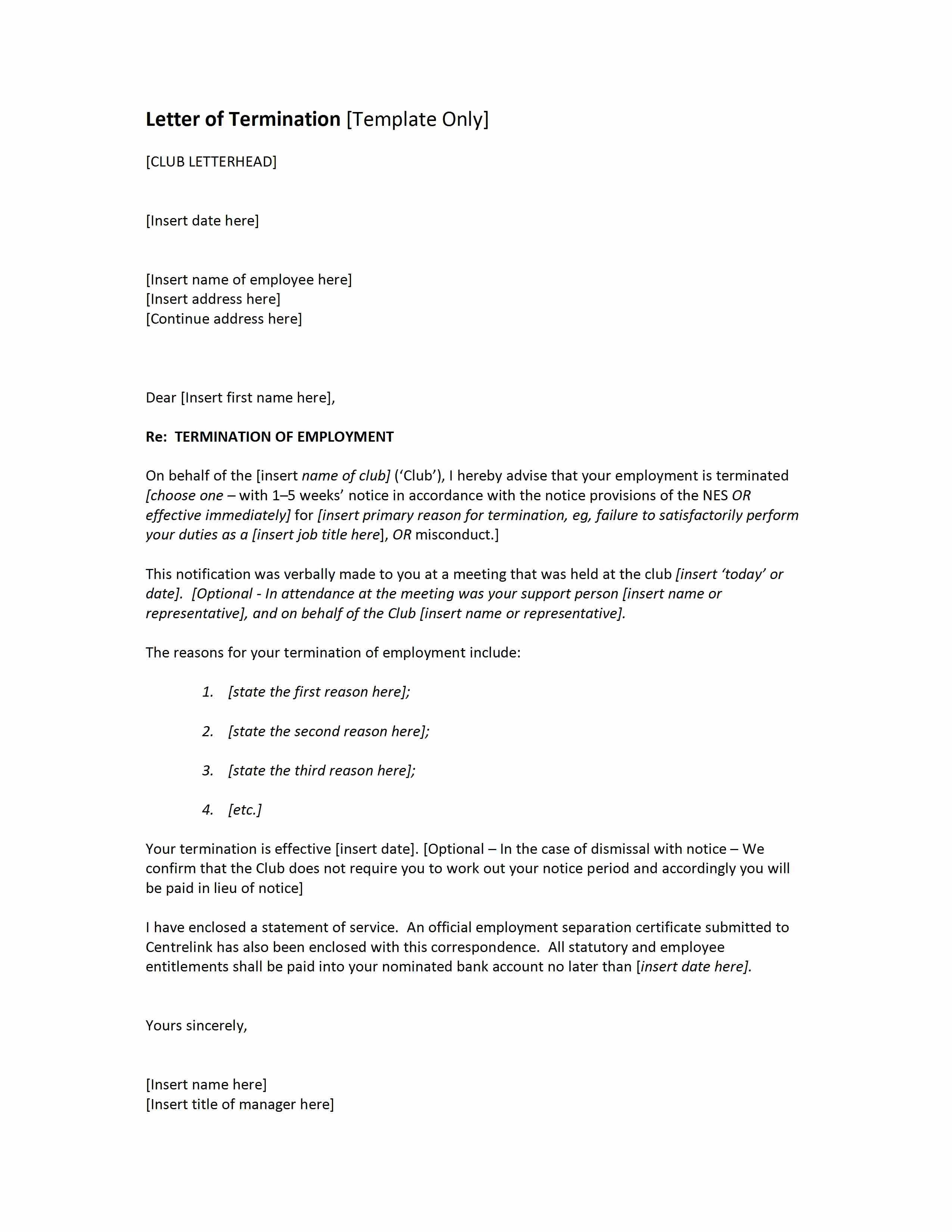 Example Of Termination Letter To Employee Classy Contract Termination Letter Free Microsoft Word Templates Create .