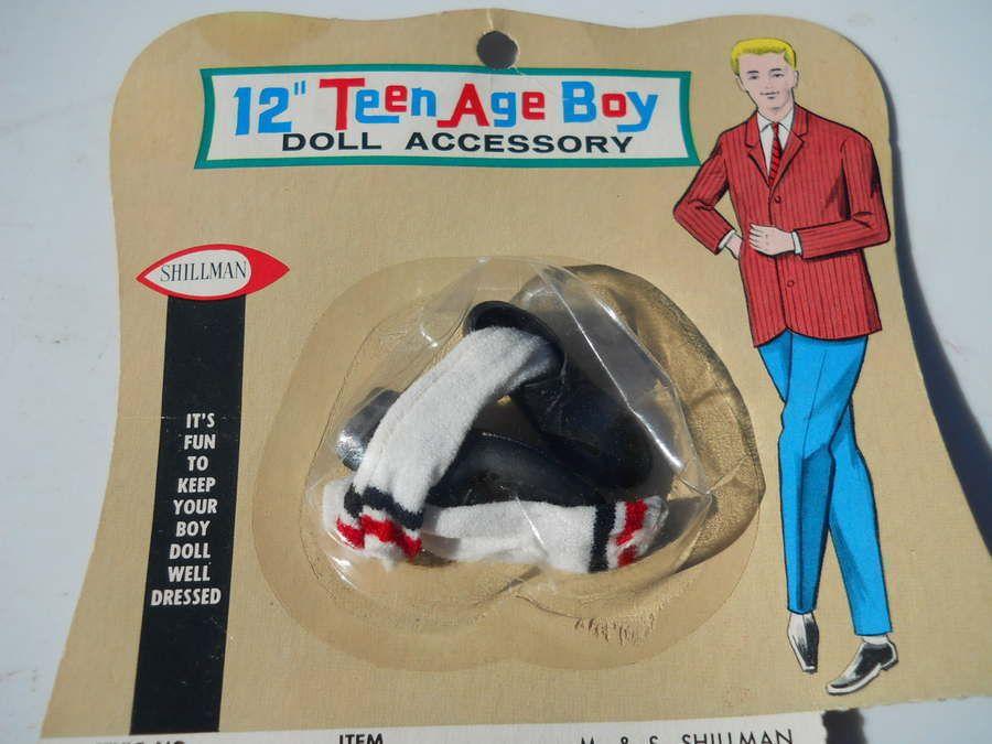 Vintage 1960 Doll Black Shoes & Crew Socks Teenage Boy Dolls 12\