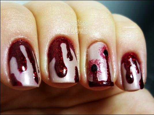 Blood nails for Halloween. - Vampire Bite Tutorial: Http://www.kaylashevonne.com/2011/10