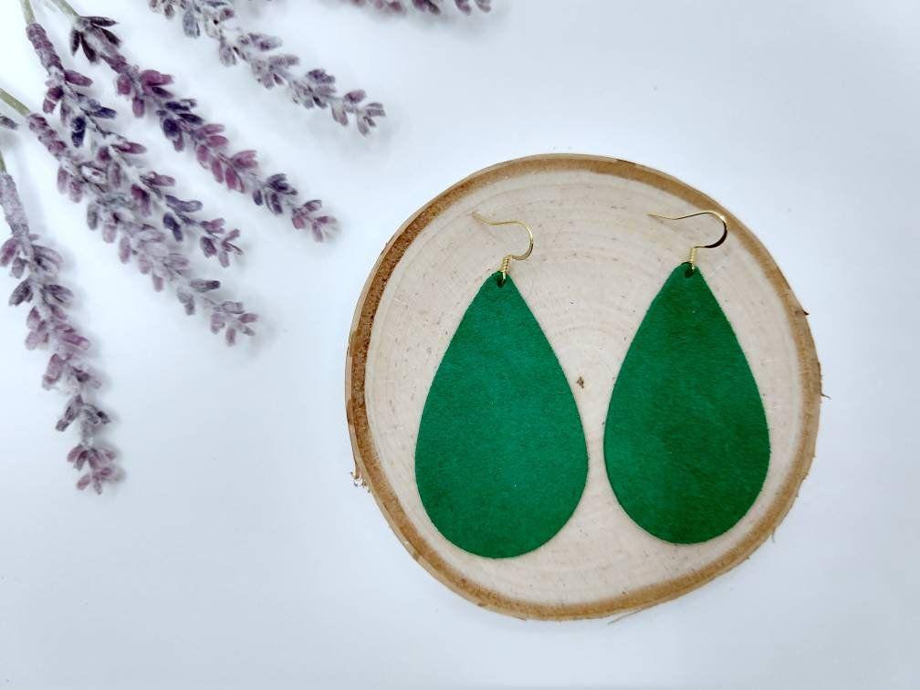 Jewel Toned Leather Emerald Green Earrings