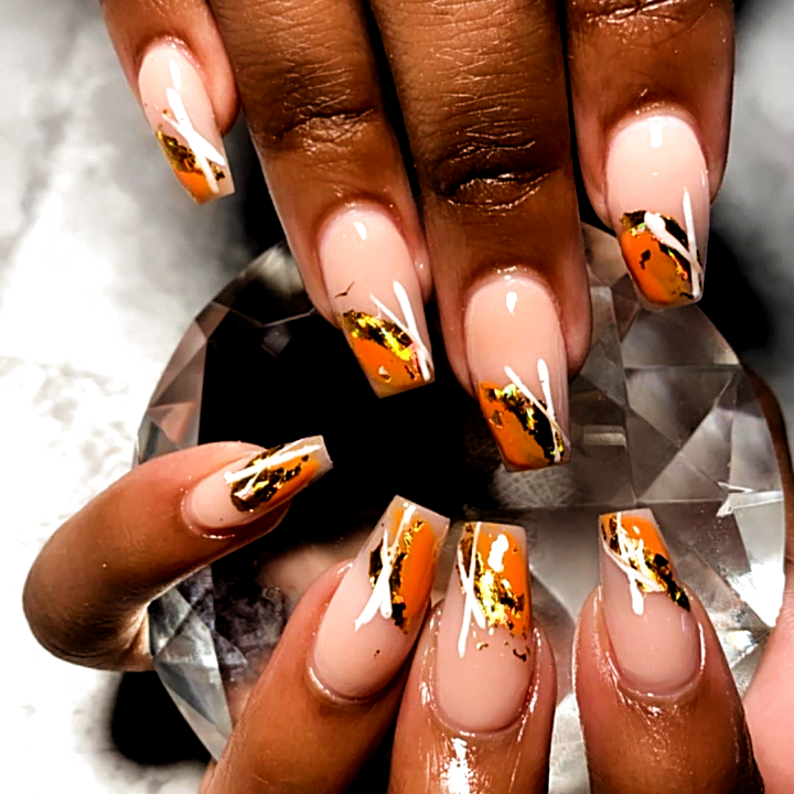20 Autumn Acrylic Coffin Nails Must Inspire You In 2020 In 2020 Gold Nail Designs Coffin Nails Designs Almond Acrylic Nails