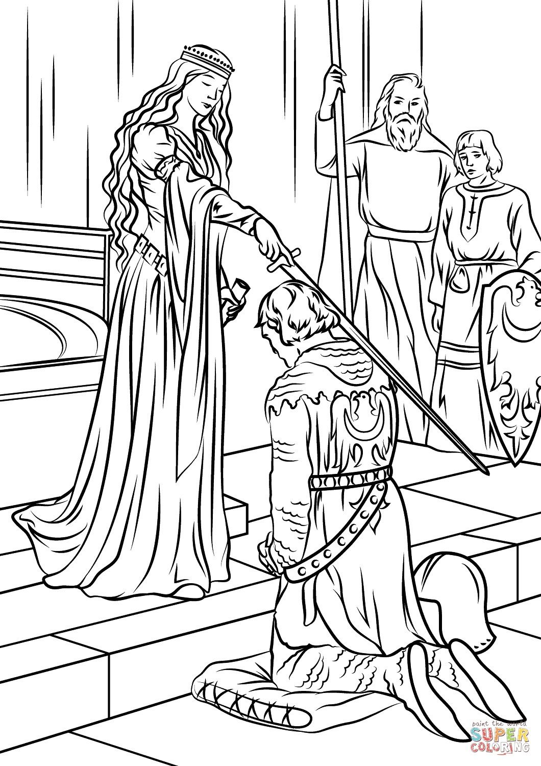 Knight And Princess Coloring Page From The Thousands Of Photographs On Line Regarding Knight Princess Coloring Pages Princess Coloring Cartoon Coloring Pages