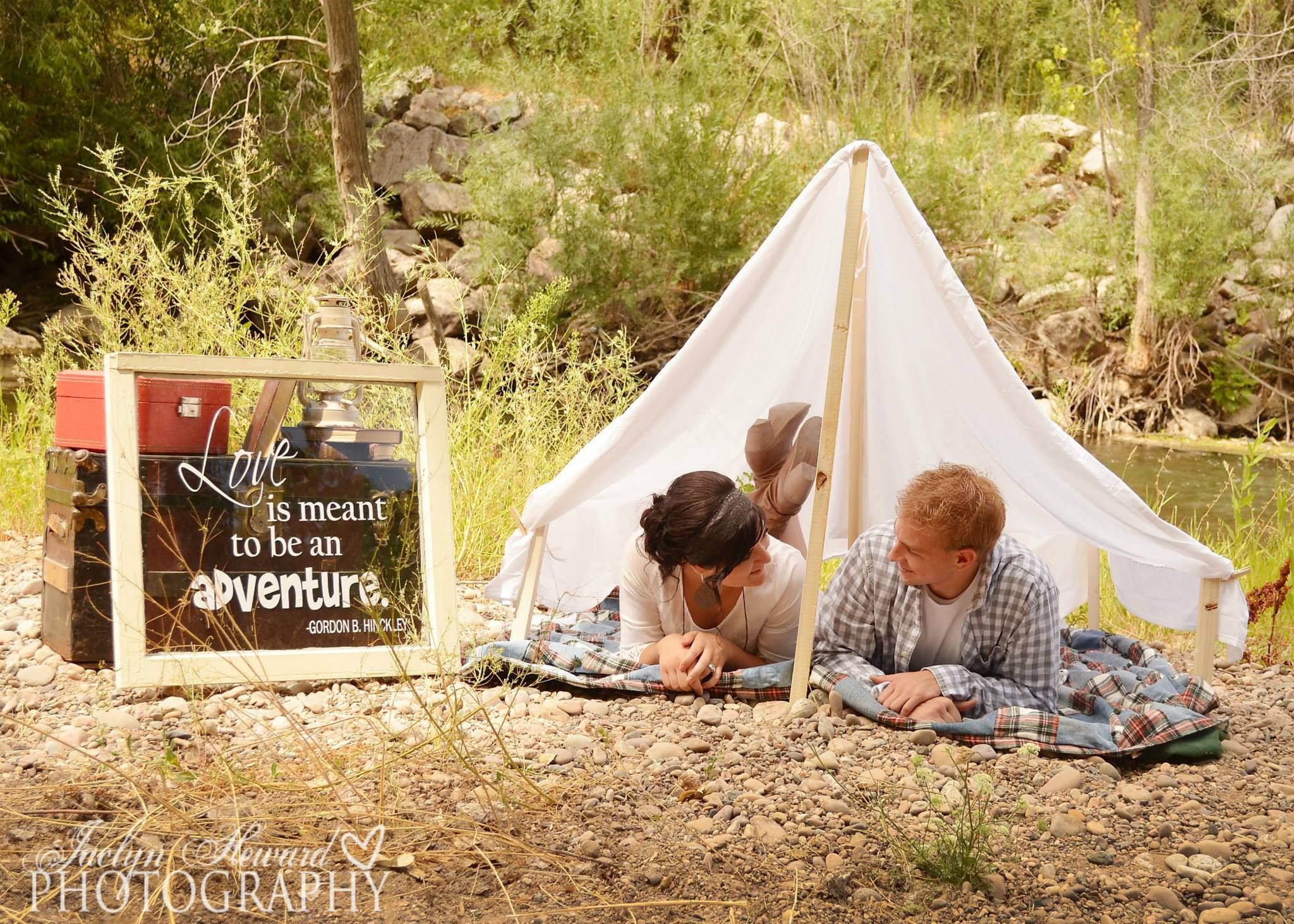 """Love is Meant to Be an Adventure."" Tent Engagements. Jaclyn Heward Photography."