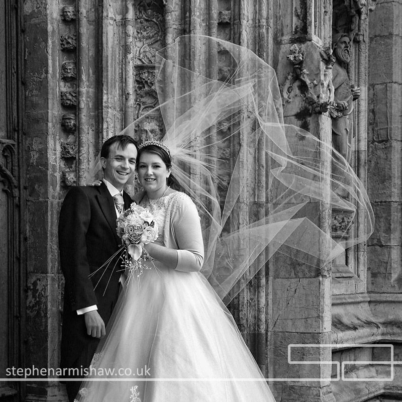 Beverley Minster Wedding Photography Black And White Couple Wind Blowing Veil Stephenarmishawco