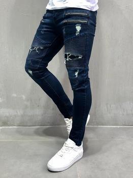 Men Skinny Fit Stitch Grid Biker Ripped Jeans Blue 4062 Fash Stop Ripped Jeans Men Mens Pants Fashion Super Skinny Jeans Men