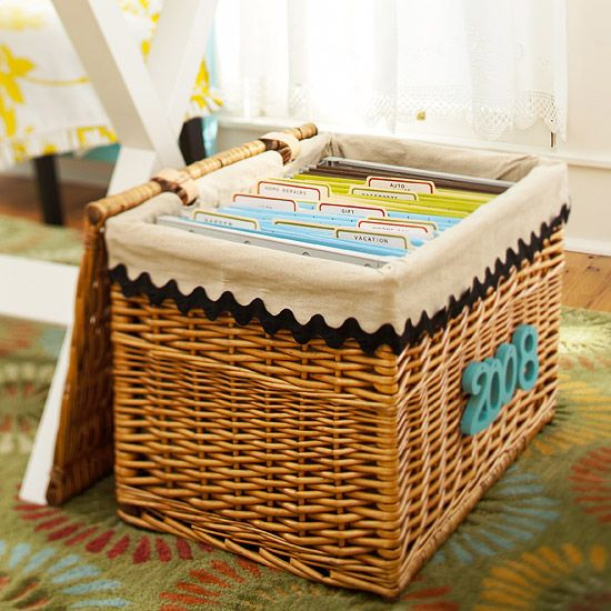 Task It Baskets Organize Household Files With Flair By Trading A Clunky Metal File Cabinet For A Work Place Organization Organization Storage And Organization