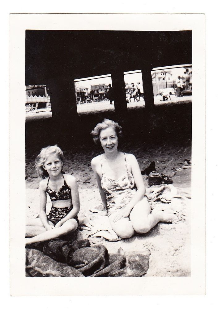 e0e1d7a9f5 vintage photo Pretty Swimsuit Woman Preteen Girl Beach 1930s snapshot