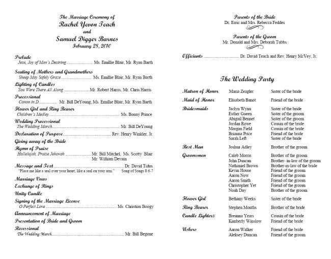 Program Template  Script Mt Sample   Wedding Mass