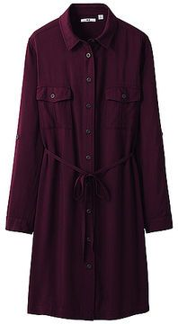 e5972eaebf Uniqlo WOMEN Military Long Sleeve Dress on shopstyle.co.uk