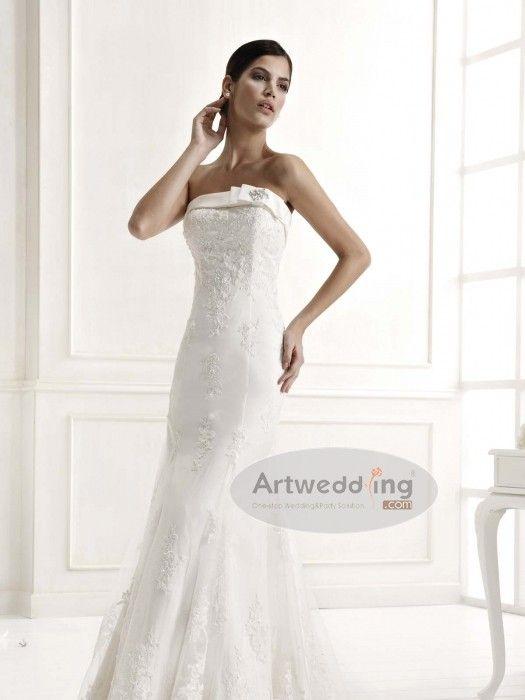 Straight Neck Allover Lace Trumpet Bridal Dress with Bolero