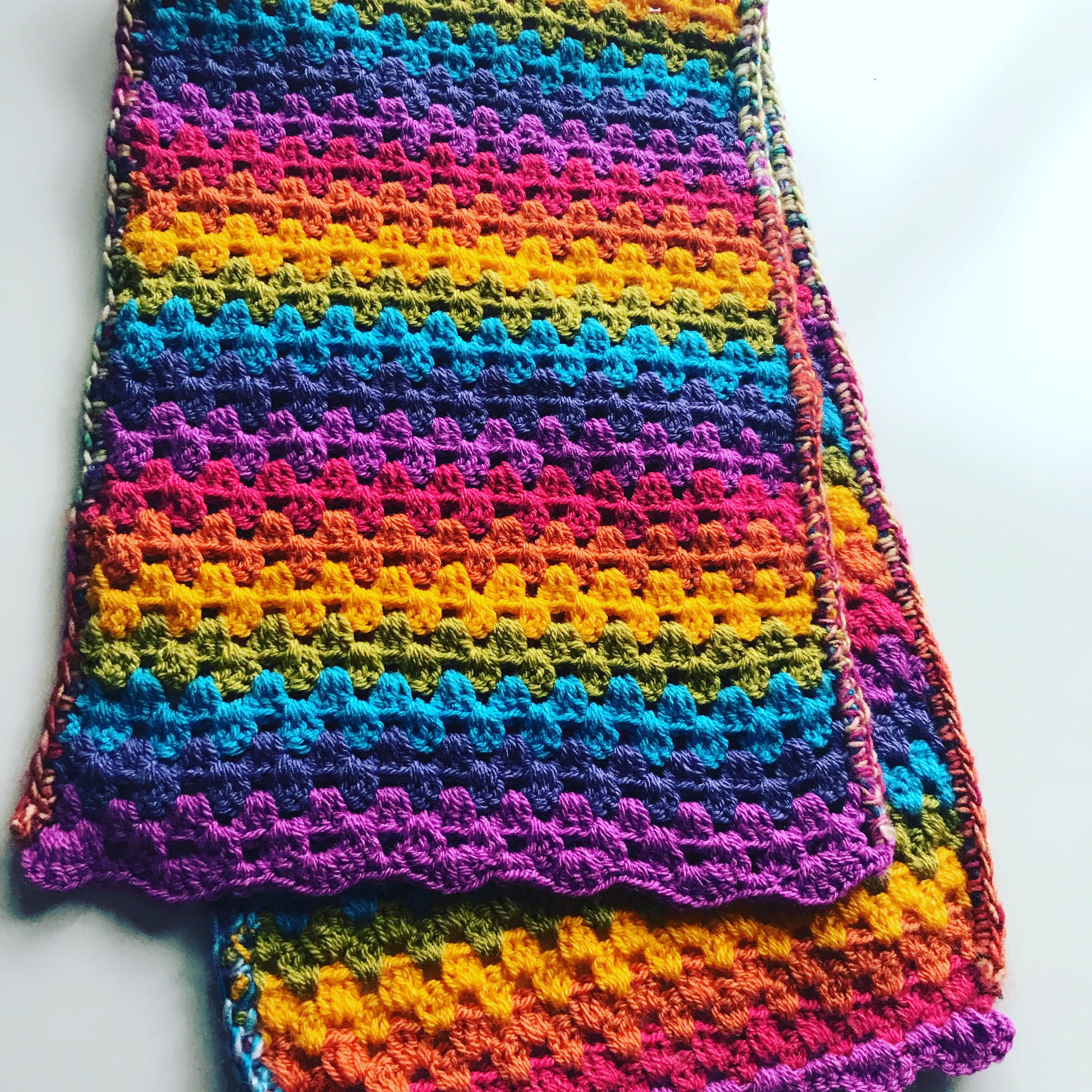 Easy Crochet Rainbow Scarf Using Attic 24 Granny Blanket Pattern Ch 40 3tr In Every Other Space Crab Stitc Easy Crochet Crotchet Patterns Blanket Pattern