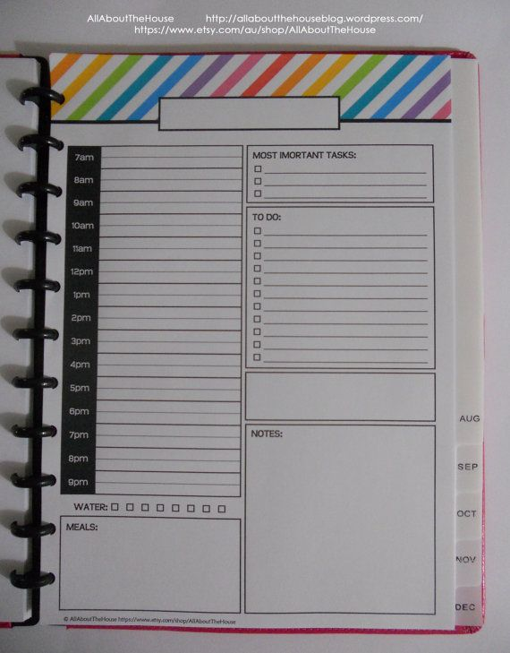 Arc Calendar Printables : Daily planner day printable to a page rainbow