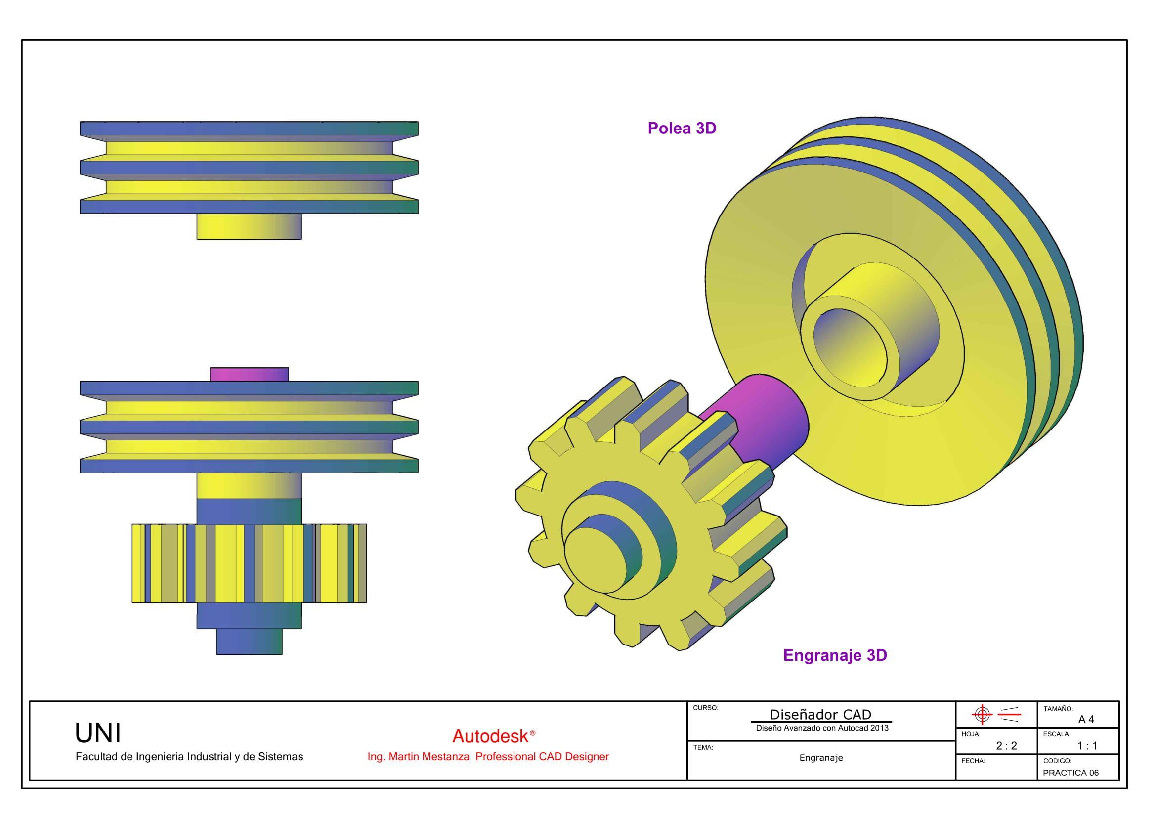 Engranaje Plano Ensamble By Ing Martin Mestanza Autocad Iii Architec