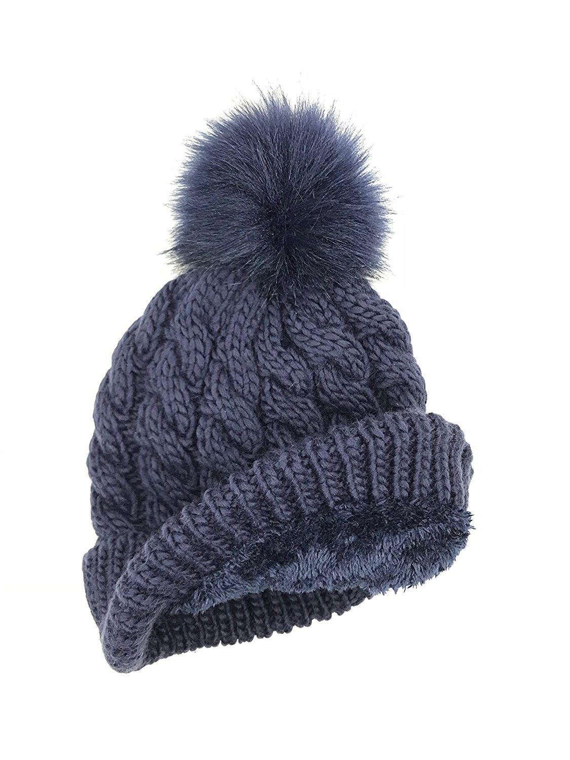 59313861c04 Women Winter Chunky Knit Sherpa Lined Beanie Hat With Faux Fur Pom Pom -  Col.