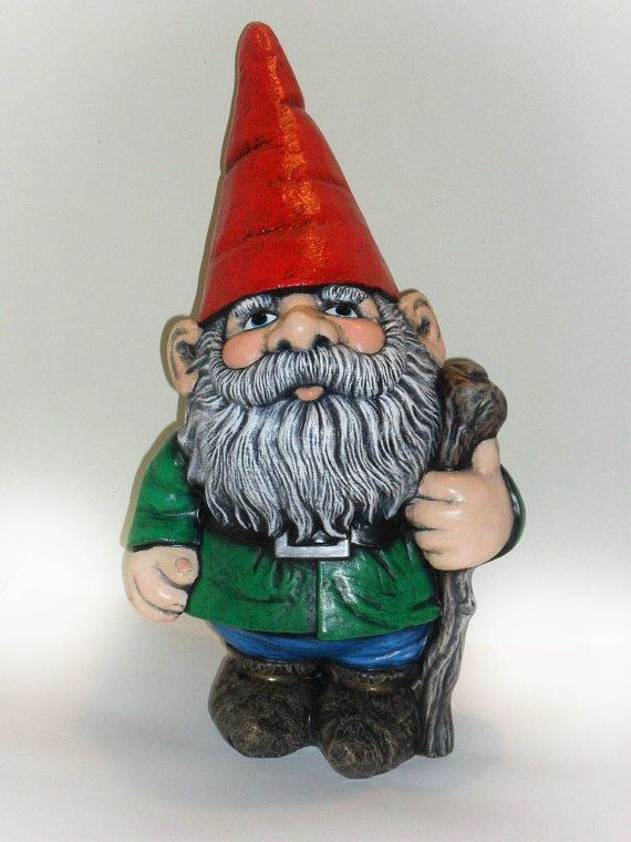 Ceramic Large Gnome 21 Inches Hand Made Painted Lawn Or