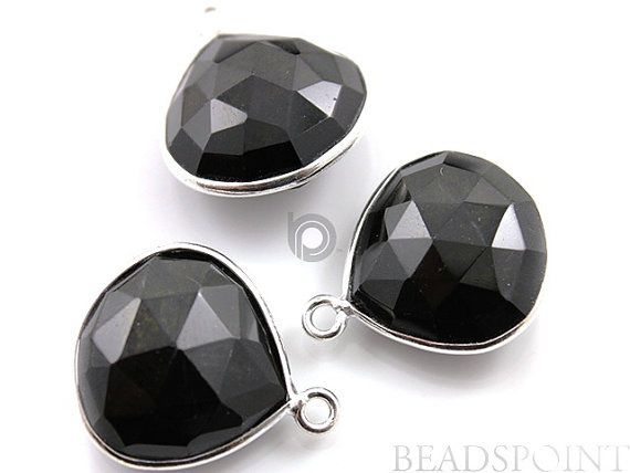 Black Onyx Bezel Heart Shape Gemstone Component 925 by Beadspoint, $7.99