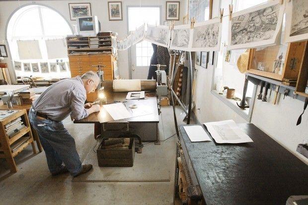 ...arthur geisert's printmaking studio in an old bank