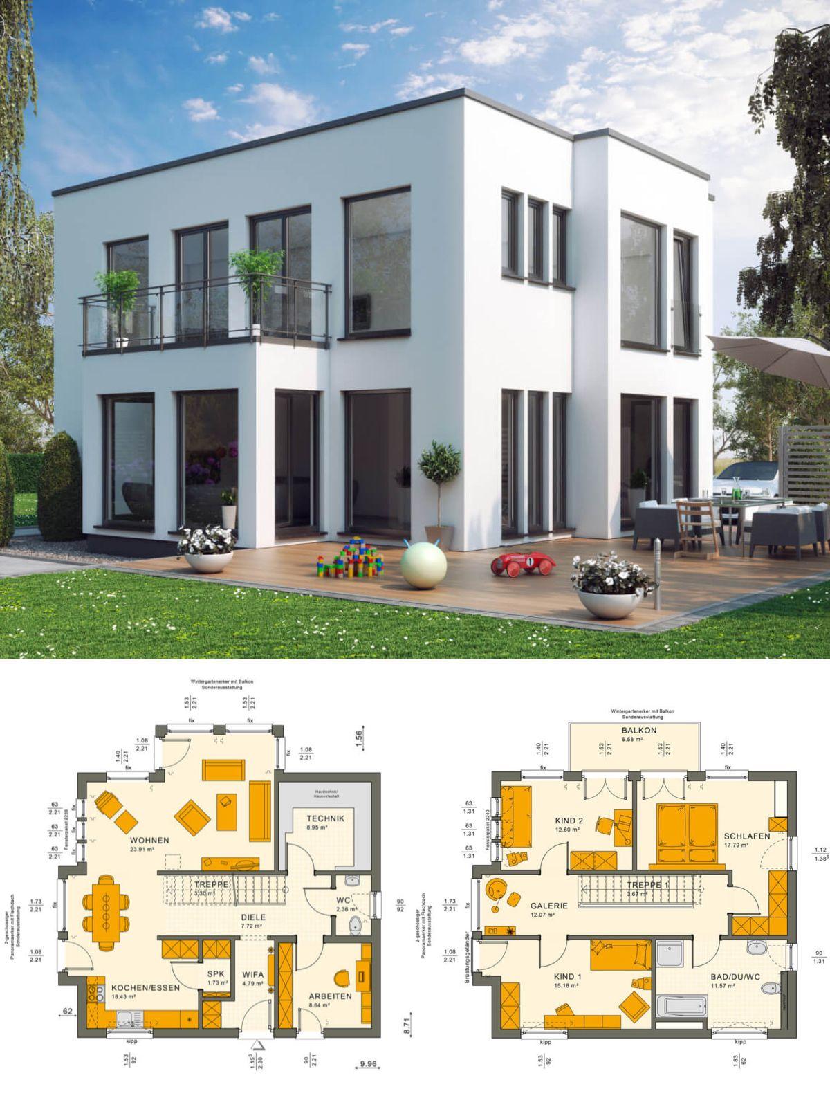 Stadtvilla modern im bauhausstil mit flachdach architektur for Einfamilienhaus bauen ideen