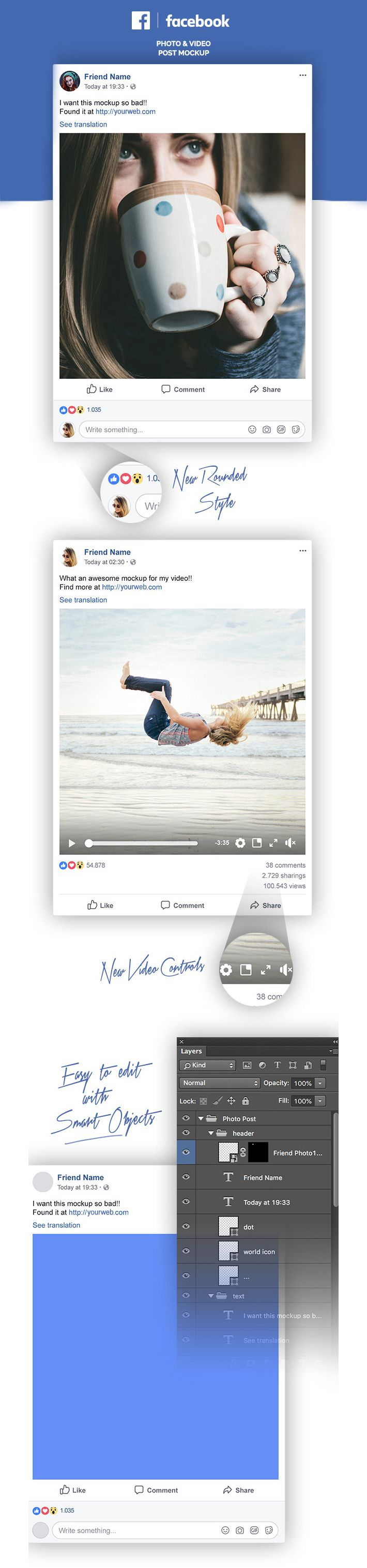 awesome facebook post template free psd files pinterest