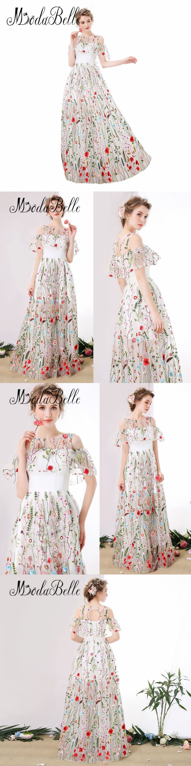 Modabelle tulle white long floral prom dress off shoulder floor