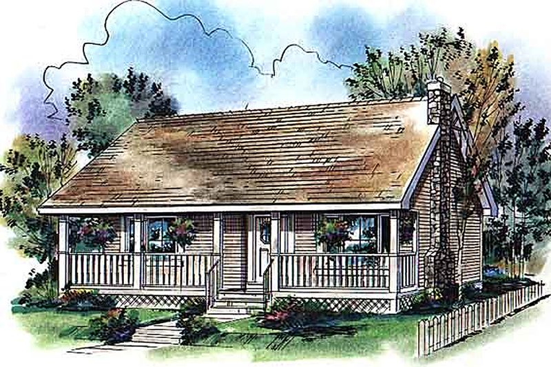 Cabin Style House Plan - 2 Beds 1 Baths 900 Sq/Ft Plan #18-327 Exterior - Front Elevation - Houseplans.com