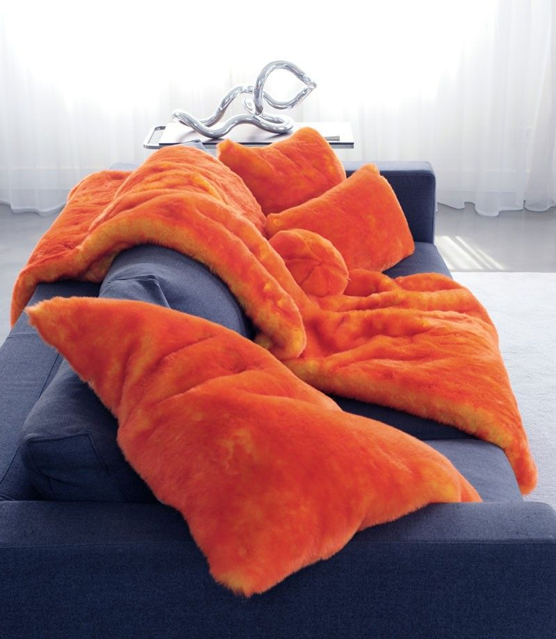 Plaid Et Coussins En Fausse Fourrure Orange Haute Qualite Made In