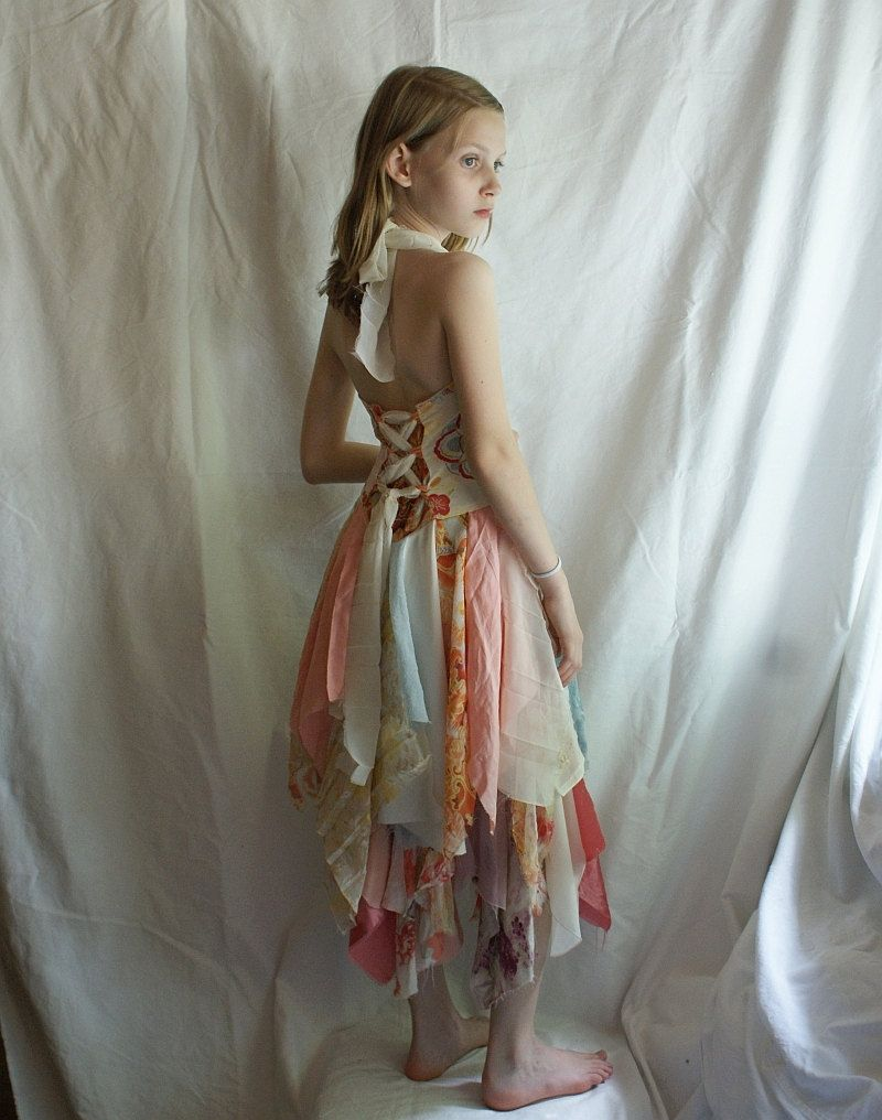 Pastel Wedding Flowers Girl Fairy Junior Bridesmaid Dress Upcycled ...