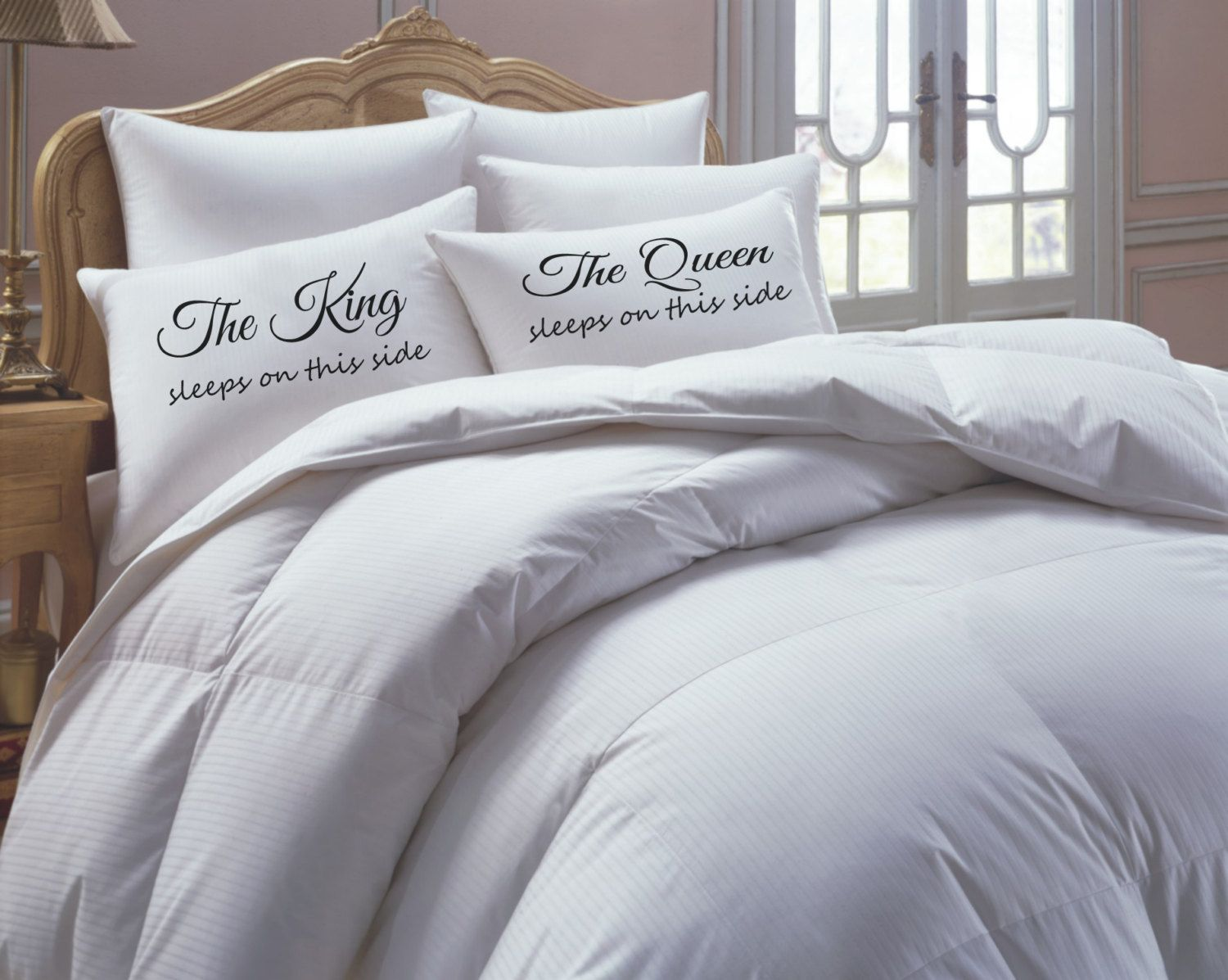 King and Queen Pillowcase Set his hers pillowcase by