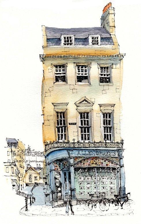 Ilustracion De Un Edificio Antiguo Watercolor Architecture Urban Sketching Architecture Drawing