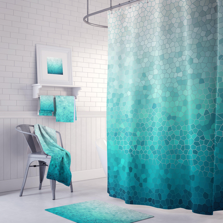 sea foam mosaic shower curtain set