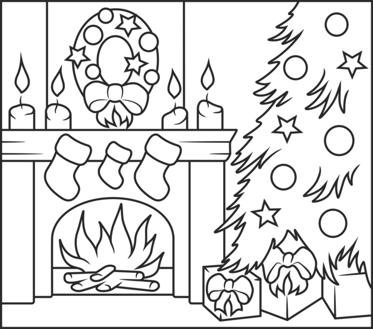 - Christmas Fireplace - Online Coloring Game Christmas Coloring Pages,  Christmas Fireplace, Christmas Colors