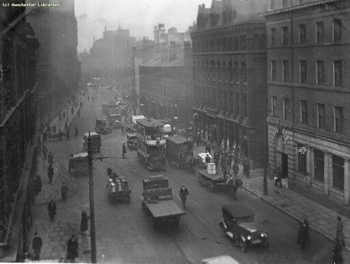 Princess Street, Manchester, looking North West, from corner of Mosley Street Date 11/04/1924.