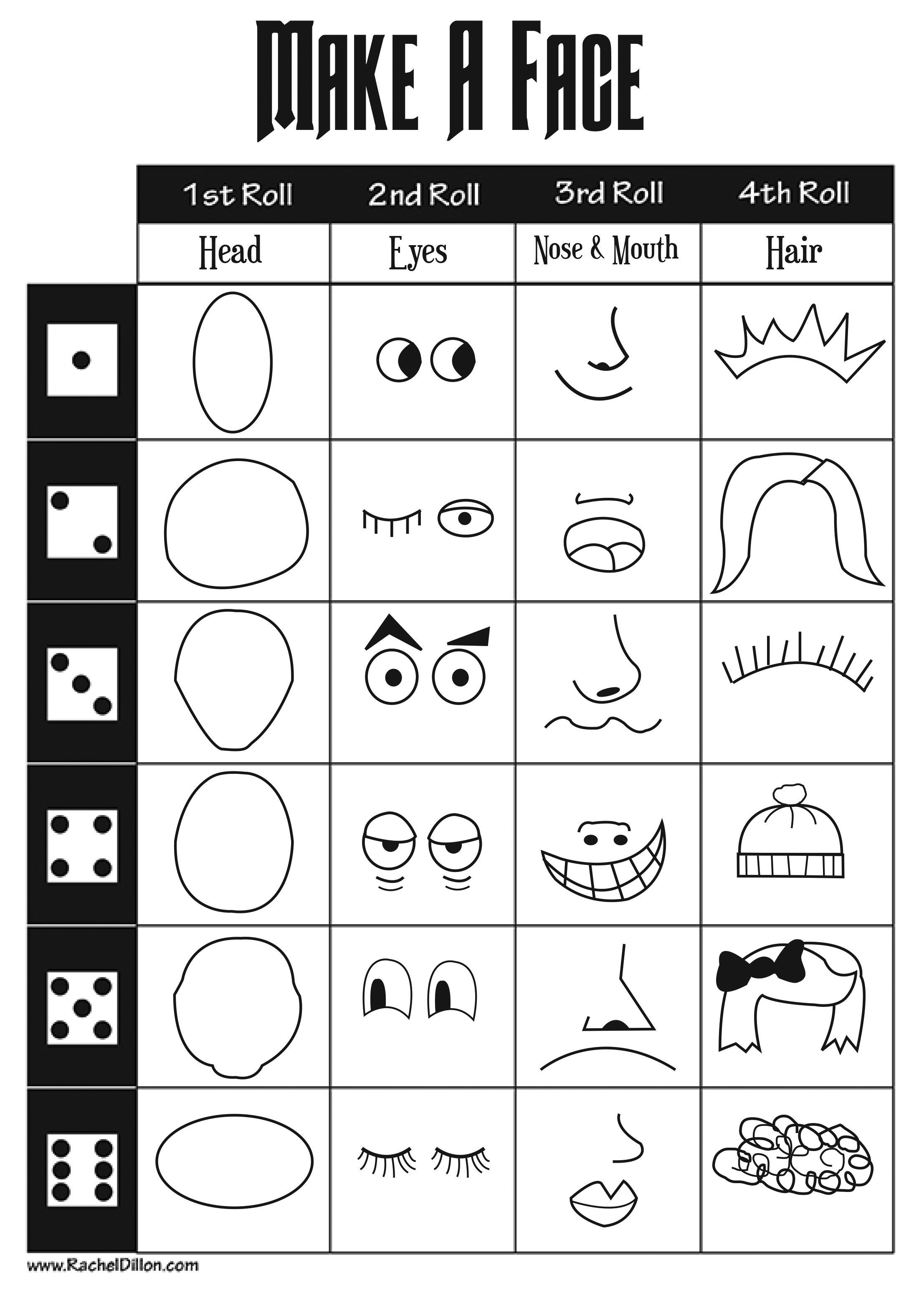 Make A Face The Students Will Take Turns To Roll A Dice Each Roll Will Decide A Feature Of The Face I Will Classroom Art Projects Art For Kids Art Classroom