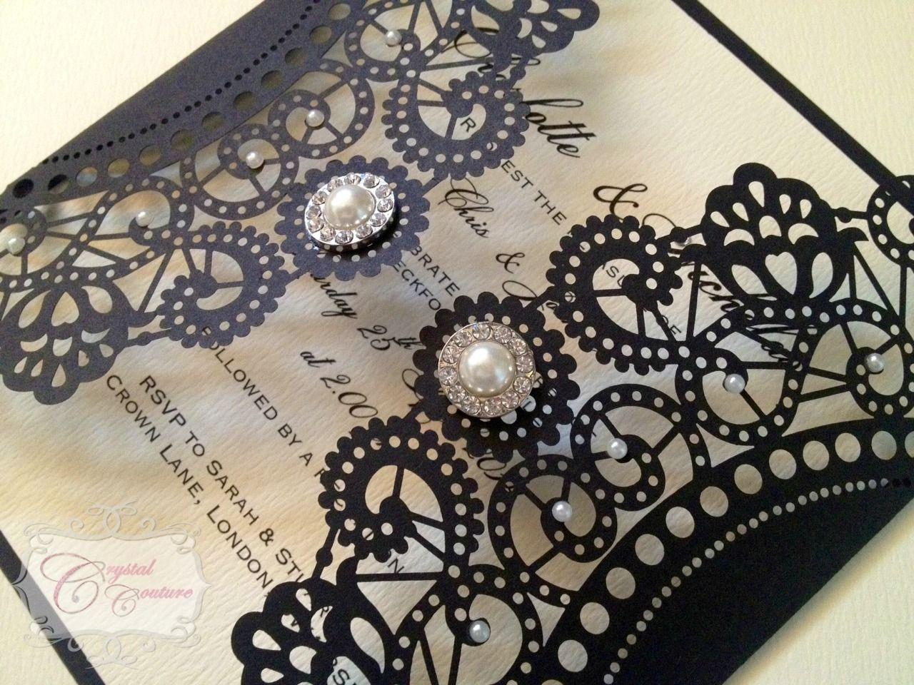 Handmade Couture Wedding Invitation U0027Gatsbyu0027 X 1 Sample In Home, Furniture  U0026 DIY, Wedding Supplies, Cards U0026 Invitations
