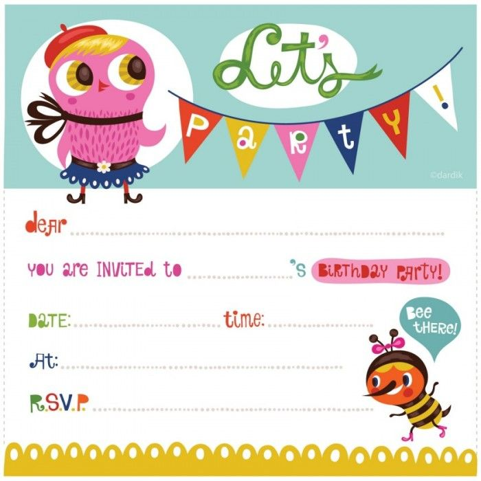 Birthdays Invitation,Girl Owl Cartoon Clip Art And Colorful Font For ...