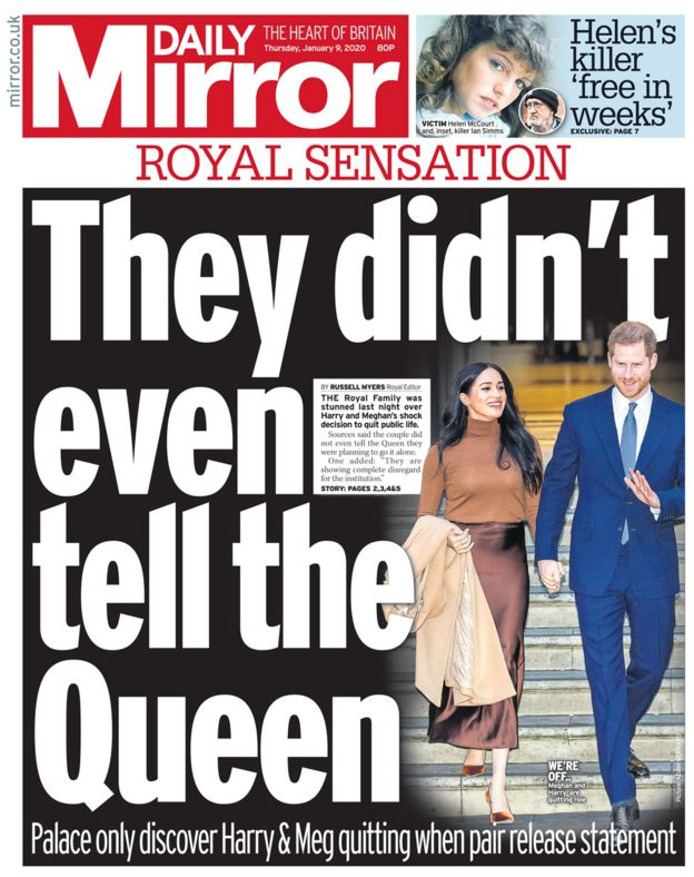 Newspaper Headlines Bombshell After Harry And Meghan Quit Harry And Meghan Newspaper Headlines Prince Harry And Megan
