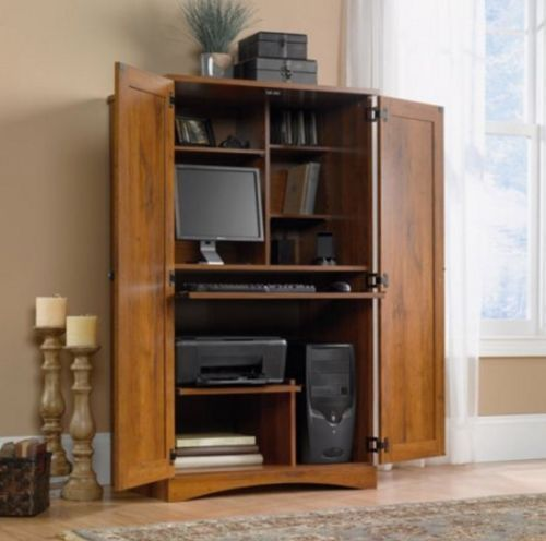 The Harvest Mill Computer Armoire By Sauder Has An Abbey Oak Finish. The  Space Saving Cabinet In The Computer Armoire Conceals Monitor, Printer,  CPU, ...