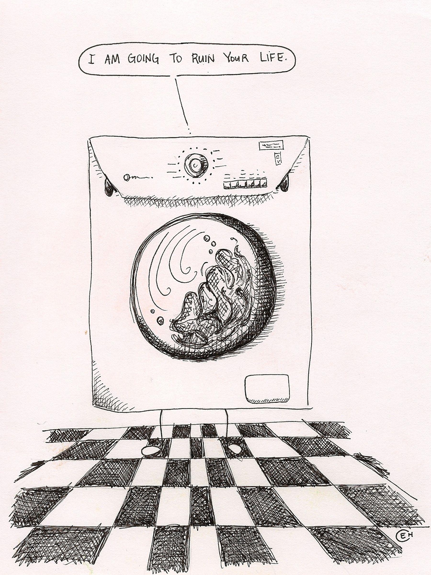 Washing Machine Drawing ~ Angry washing machine ink drawing art pinterest