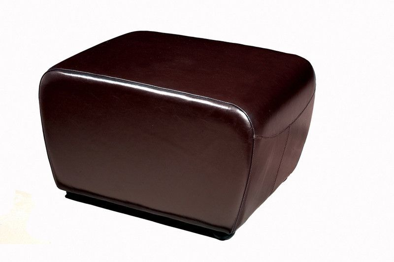Wholesale Interiors Y-051-001-dark brown Dark Brown Full Leather Ottoman with Rounded Sides - Each