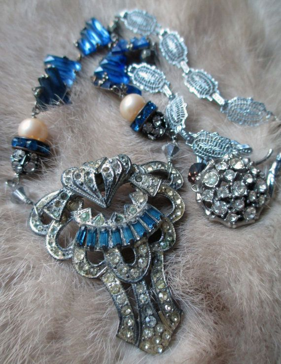 'zelda, the necklace' vintage assemblage necklace with rhinestone dress clip and Art Deco chain by The French Circus, $175.00