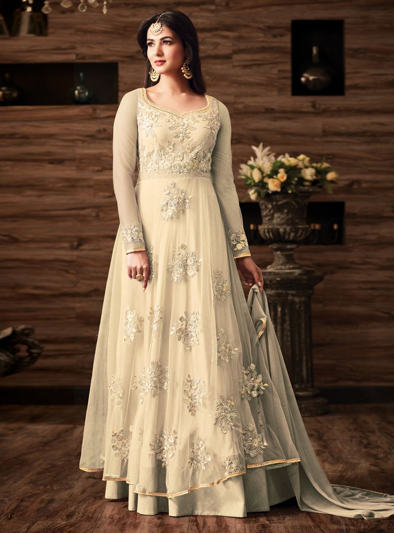50d651c28f Buy Sonal Chauhan Off White Net Layered Anarkali Suit 113790 online at  lowest price from vast collection at m.indianclothstore.c.