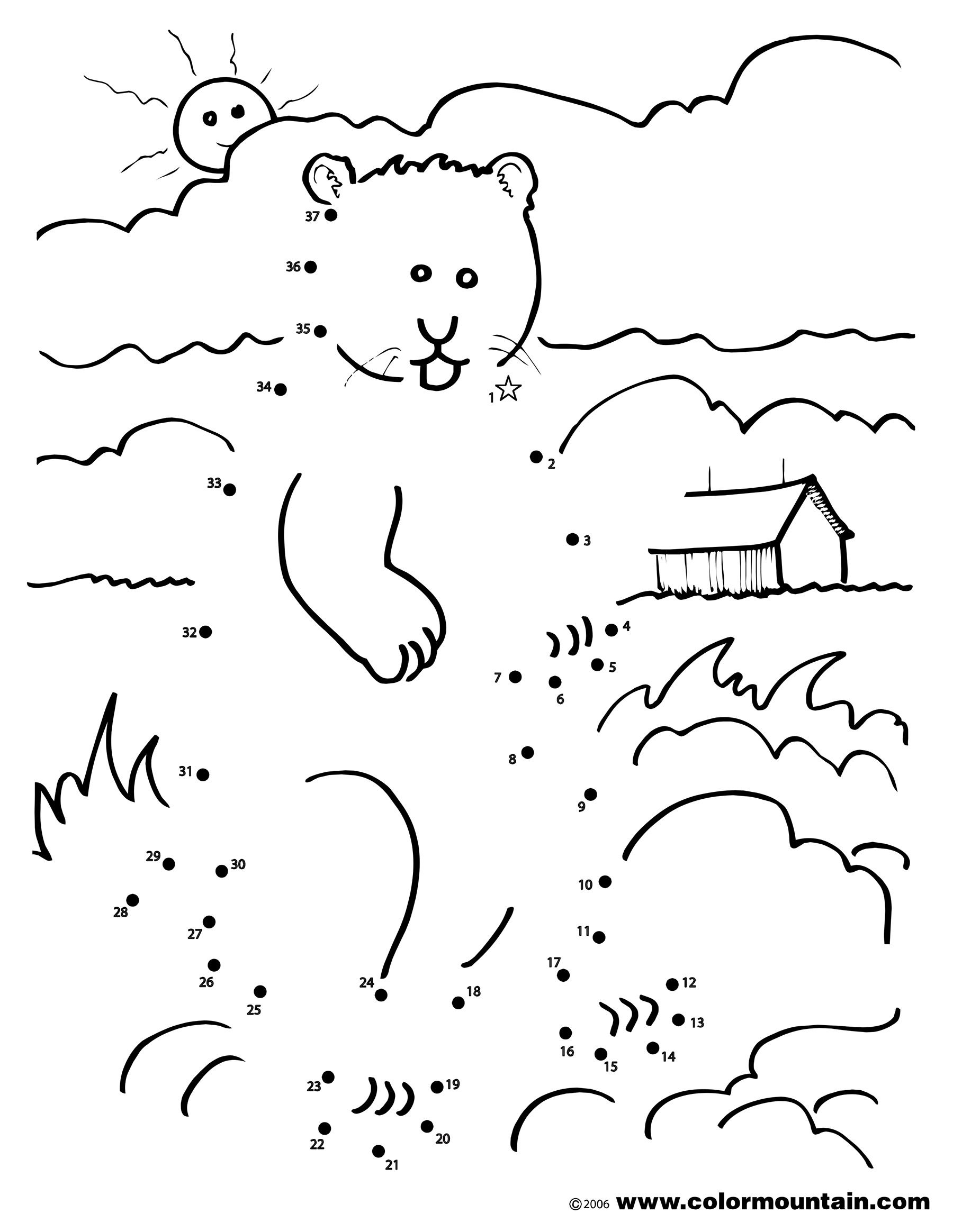 Groundhog Coloring Dot To Dot Coloring Page Dot Worksheets